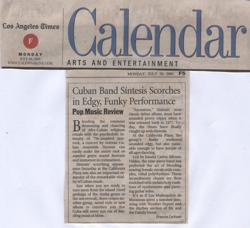 2001. Escrito LA TIMES